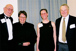 Professors Kathleen Engel and Patricia McCoy with ACCFL Pres. Ralph Rohner and Writing Competition Chair Fred Miller