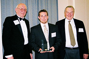 Best Student Article winner, Derrick Land, with Ralph Rohner and Fred Miller